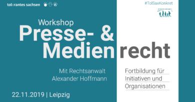 22.11. | TolSaxKonkret: Presse- und Medienrecht. Workshop mit Alexander Hoffmann | Leipzig