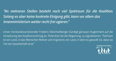 Sächsischer Flüchtlingsrat: Koalitionsvertrag bietet Spielraum fürs Innenministerium – genauer Augenmerk vonnöten!
